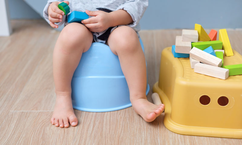 Little boy sitting on a training potty