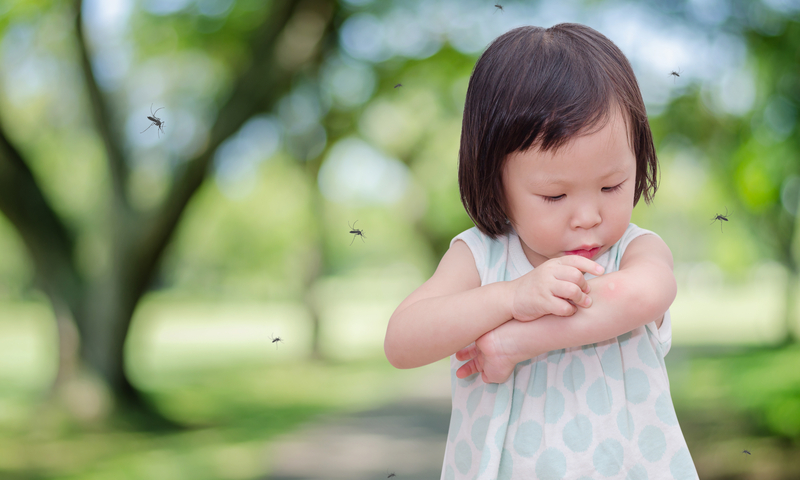 Little girl looking at a mosquito bite on her arm