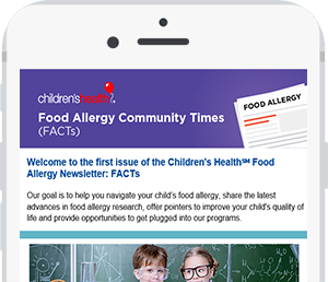 cellphone displaying food allergy newsletter