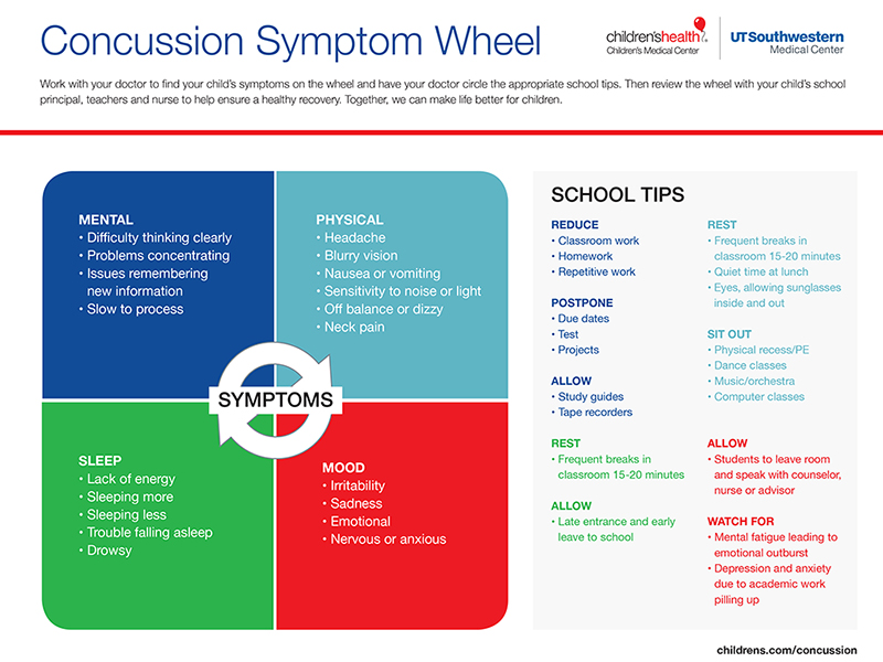 Concussion Symptom Wheel infographic