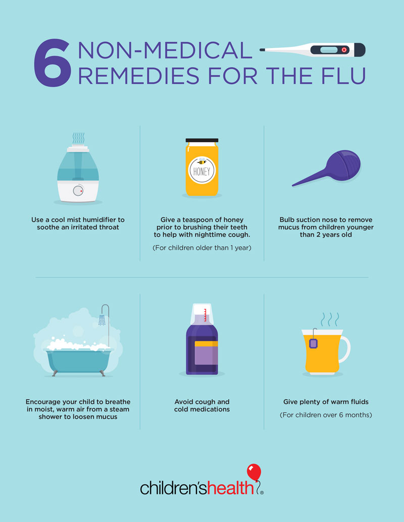 6 Home Remedies For Flu In Kids Infographic