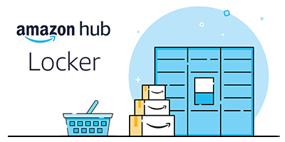 Logotipo de Amazon Lockers con casilleros