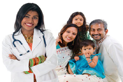Indian doctor with indian family