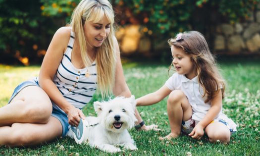Mom with her child relaxing with English Highland White Terrier dog on grass in the backyard