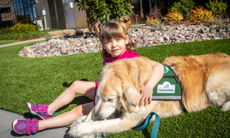 Camilla and Boots the therapy dog