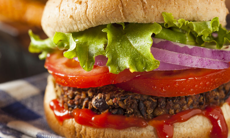 Close up of a hamburger