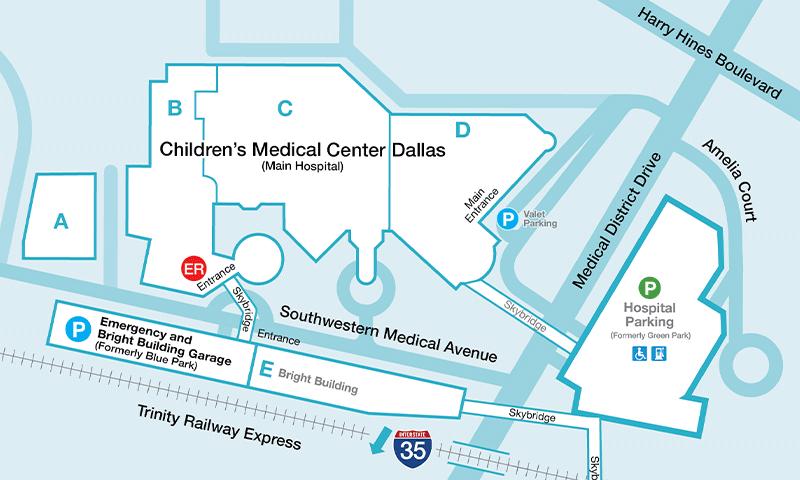 Mapa del estacionamiento de la sala de urgencias - Centro médico Children's de Dallas