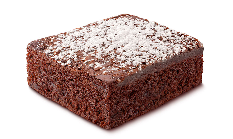 square chocolate cake with powdered sugar on top